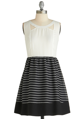 Breakfast Club Coordinator Dress - Mid-length, Black, White, Stripes, Cutout, A-line, Sleeveless, Casual, Cocktail, Sheer, Holiday Sale, Fit & Flare