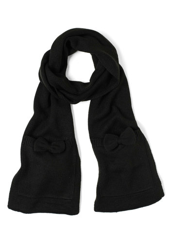One Accessory Wonder Scarf in Black by Tulle Clothing - Black, Solid, Bows, Pockets, Casual, Winter
