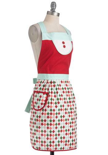 Helper's Helper Apron - Multi, Red, Vintage Inspired, Holiday