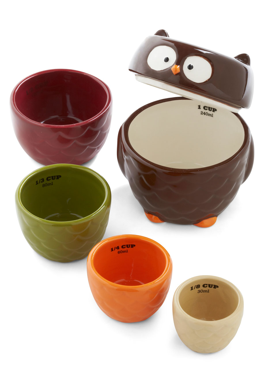 Owl Accounted For Measuring Cup Set Mod Retro Vintage