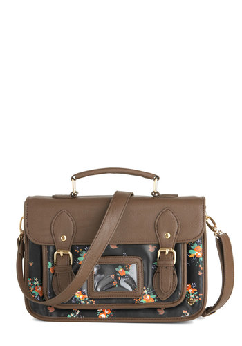 Squirrel You Know It's True Bag by Yumi - Brown, Black, Solid, Floral, Buckles, Print with Animals, Casual, Quirky, Scholastic/Collegiate, Faux Leather