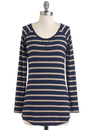 On the Level Top - Blue, Tan / Cream, Stripes, Long Sleeve, Casual, Menswear Inspired, Fall, Long, Jersey