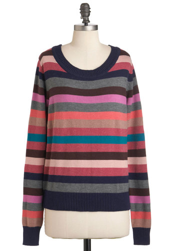 Line of Versicolor Sweater - Mid-length, Multi, Stripes, Long Sleeve, Multi, Casual, Fall, Knitted, Cotton