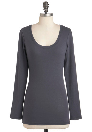 Lay the Foundation Top - Grey, Solid, Long Sleeve, Casual, Mid-length, Cotton, Scoop, Travel