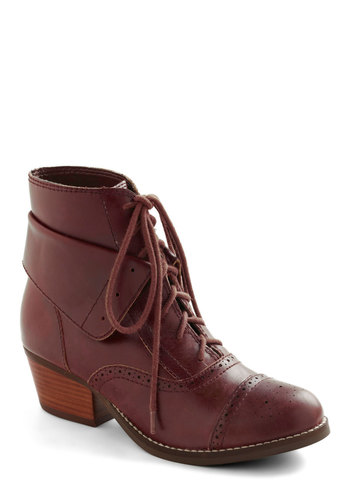 Dearest Boot in Grenadine by Seychelles - Red, Lace Up, Mid, Solid, Casual, Steampunk, Fall, Leather
