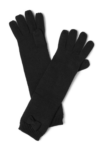 Glad to be Homespun Gloves by Tulle Clothing - Black, Solid, Bows, Knitted