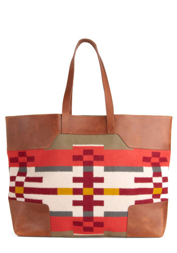 Pendleton Adventure Capital Tote by Pendleton - Multi, Red, Green, Brown, Tan / Cream, Print, Casual, Travel, Rustic, Scholastic/Collegiate, Holiday Sale
