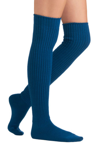 Chic-Kneed Socks in Cerulean - Blue, Solid, Knitted, 90s