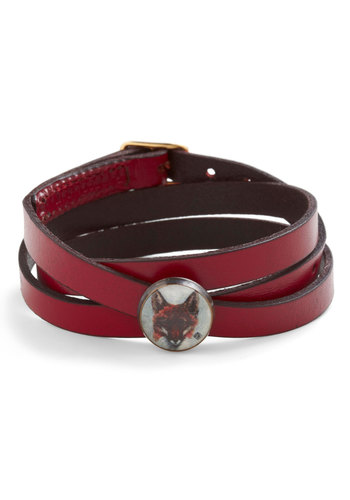 Fox and Found Bracelet - Red, Solid, Print with Animals, Casual, Quirky, Leather, Rustic