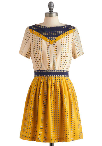 Lauren Moffatt More or Cumulus Dress by Lauren Moffatt - Mid-length, Yellow, Blue, Tan / Cream, Print, A-line, Short Sleeves, Casual, Fall, Vintage Inspired, 30s