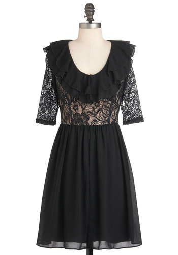 Not Your Average LBD Dress - Tan / Cream, Lace, Film Noir, A-line, 3/4 Sleeve, Short Sleeves, Cocktail, Short, Black, Ruffles, Steampunk, Holiday Party, Sheer