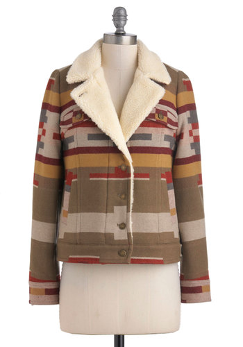 Pendleton Hut, Hut, Hike Jacket by Pendleton - 4, Multi, Red, Green, Brown, Tan / Cream, Buttons, Pockets, Long Sleeve, Casual, Rustic, Winter, Short