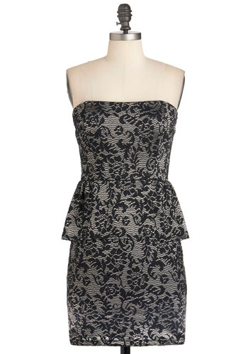 Just Goes to Shadow Dress - Silver, Floral, Strapless, Mid-length, Peplum, Cocktail, Holiday Party, Black