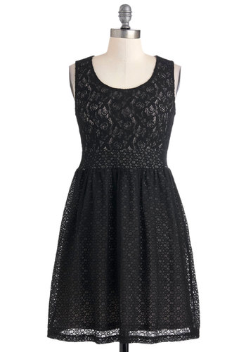 Anise to Meet You Dress - Black, Lace, Party, A-line, Sleeveless, Mid-length, Steampunk, Cocktail, Cotton, Fit & Flare