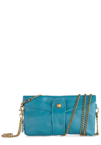 Bona Fide Fetching Clutch - Blue, Solid, Party, Girls Night Out, Leather