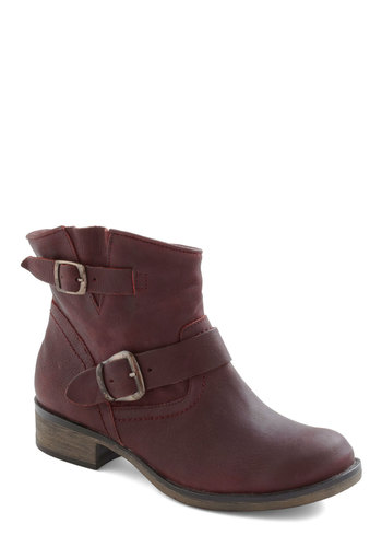 Chocolate Cherries Boot - Red, Solid, Buckles, Casual, Fall, Leather, Low