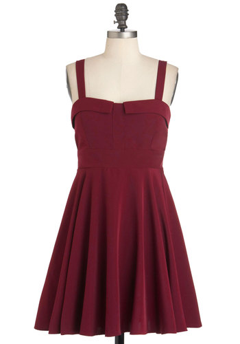 Pomegranate One Wish Dress - Solid, Party, A-line, Tank top (2 thick straps), Short, Red, Fit & Flare, Sweetheart
