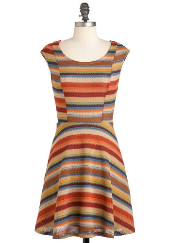 Harvest Moon Dress - Multi, Red, Orange, Yellow, Green, Blue, Tan / Cream, Stripes, Casual, A-line, Cap Sleeves, Mid-length