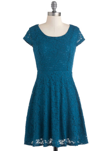 Triple Date Dress - Blue, Lace, Party, A-line, Cap Sleeves, Short, Solid, Tis the Season Sale