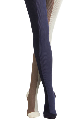 Night and Daybreak Tights by Hansel from Basel - Blue, Tan / Cream, Black, Stripes, Statement, Winter