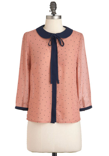 Frilled to the Trim Top - Pink, Blue, Polka Dots, Peter Pan Collar, Long Sleeve, Mid-length, Work, Vintage Inspired, Scholastic/Collegiate, Pastel, Tie Neck, Button Down, Collared