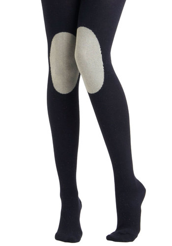 Knee-d to Know Tights in Navy - Grey, Statement, Winter