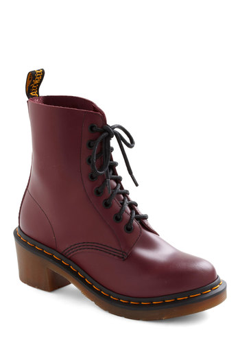 Camden Town Boots by Dr. Martens - Red, Military, Lace Up, 90s, Fall, Winter, Mid, Steampunk, Leather