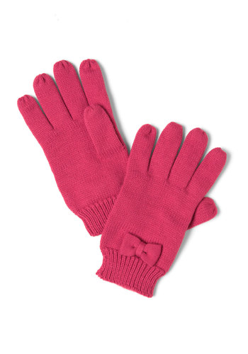 Colder Than You Bow Gloves in Petal by Tulle Clothing - Pink, Solid, Bows, Knitted, Winter