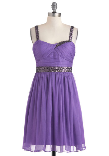 I Amethyst Who I Am Dress - Mid-length, Purple, Sequins, Prom, A-line, Spaghetti Straps, Party, Cocktail, Holiday Party, Fit & Flare, Sweetheart, Formal