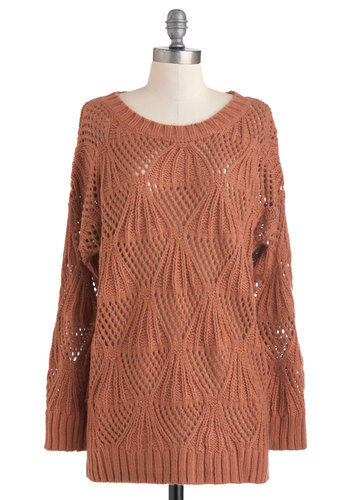 Those Fall Nights Sweater - Brown, Solid, Knitted, Vintage Inspired, Long Sleeve, 90s, Mid-length, Brown, Long Sleeve, Top Rated