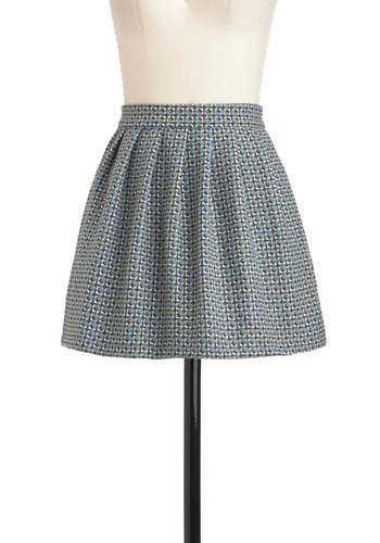 Oh Woven is Me Skirt - Short, Multi, Green, Blue, Purple, Pockets, A-line, Tan / Cream, Print, Exposed zipper, Pleats, Casual