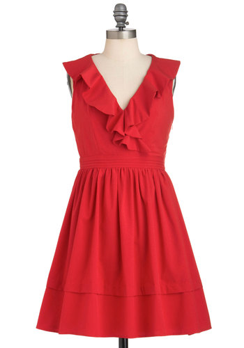 Accustomed to Classic Dress - Red, Solid, Ruffles, Party, A-line, Sleeveless, Short, Cocktail, Holiday Party, Fit & Flare, V Neck