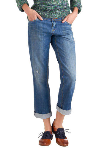 Cute to Bootcut Jeans by Dittos - Blue, Solid, Pockets, Casual, Denim, Menswear Inspired, Cropped