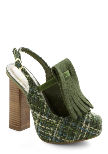 Lily Plaid Heel - High, Green, Multi, Print, Chunky heel, Slingback, Party, Casual, 90s, Platform