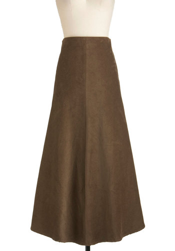 In Close Corduroys Skirt - Cotton, Brown, A-line, Long, Work, Casual, Fall