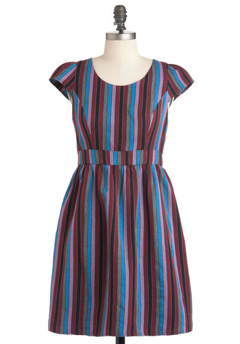You Fest It Dress in Berry - Mid-length, Multi, Red, Blue, Pink, Black, Grey, Stripes, Exposed zipper, Casual, A-line, Cap Sleeves, Fall
