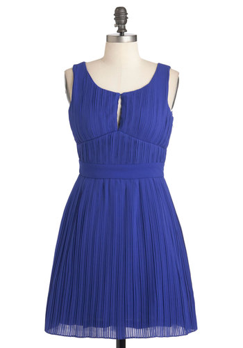 Verve and Vigor Dress - Short, Cutout, Pleats, Prom, Wedding, Party, A-line, Sleeveless, Tis the Season Sale, Blue, Solid