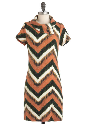 Whittle While You Work Dress - Short, Green, White, Print, Casual, Shift, Short Sleeves, Fall, Orange, Tan / Cream, Sweater Dress, Cowl