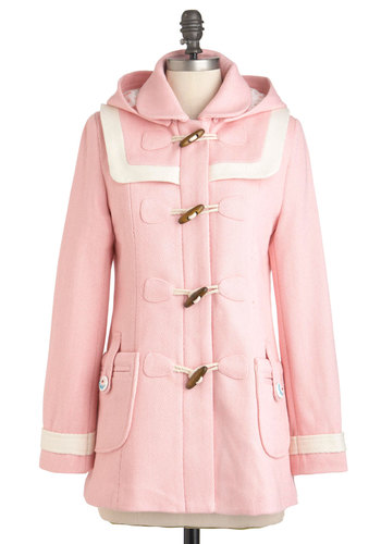 Duffle the Fun Coat - Pink, Tan / Cream, Solid, Pockets, Trim, Casual, Long Sleeve, Fall, Winter, 3, Pastel, International Designer, Mid-length