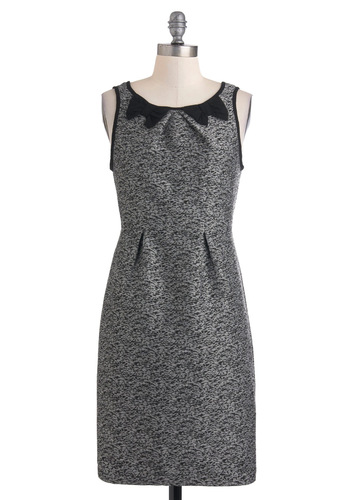 A Light in the Static Dress by Sugarhill Boutique - Mid-length, Grey, Black, Print, Bows, Exposed zipper, Work, Shift, Sleeveless, Vintage Inspired, International Designer