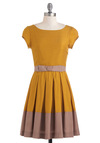 Life is a Maize Dress by Dear Creatures - Mid-length, Yellow, Brown, Pleats, Belted, A-line, Cap Sleeves, Casual, Cocktail, Fit & Flare