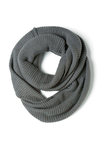 Infinity Party Scarf in Charcoal - Grey, Solid, Knitted, Casual