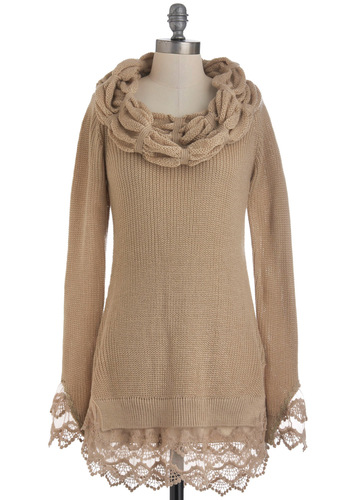 Taupe About It Sweater by Ryu - Tan, Solid, Lace, Casual, Long Sleeve, Fall, Winter, Long, Cowl