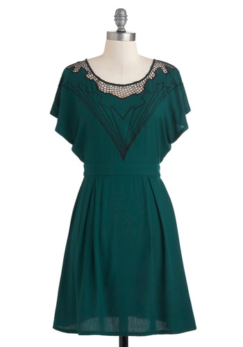 Diamond Minded Dress by Sugarhill Boutique - Mid-length, Green, Black, Embroidery, Casual, Shift, Short Sleeves, International Designer