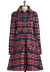 I Heart Plaid Coat by Blutsgeschwister - Long, Red, Blue, Grey, White, Plaid, Buttons, Pockets, Long Sleeve, 3, Fall, Winter, Belted, Rustic, International Designer