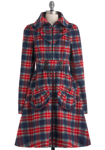I Heart Plaid Coat by Blutsgeschwister - Red, Blue, Grey, White, Plaid, Buttons, Pockets, Long Sleeve, 3, Fall, Winter, Belted, Rustic, International Designer, Long