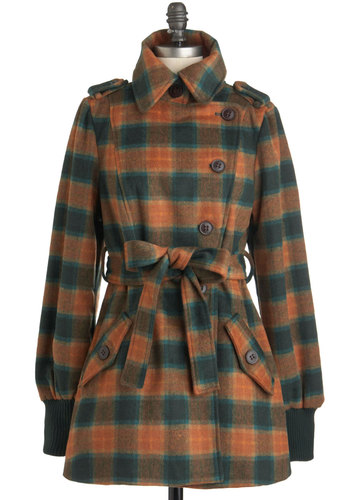Pumpkin Pale Ale Coat by Blutsgeschwister - Long, Green, Plaid, Buttons, Pockets, Belted, Long Sleeve, 3, Orange, Brown, Epaulets, Casual, Fall, Winter, Rustic, International Designer