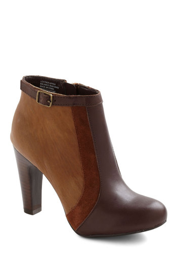 Stick Your Neck Out Bootie by Seychelles - Brown, Tan, 60s, High, Leather, Suede, Fall, Vintage Inspired
