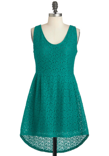 Clover Joyed Dress - Green, Solid, Casual, Sleeveless, Short, Exposed zipper, High-Low Hem, Sheer, Holiday Sale, Eyelet