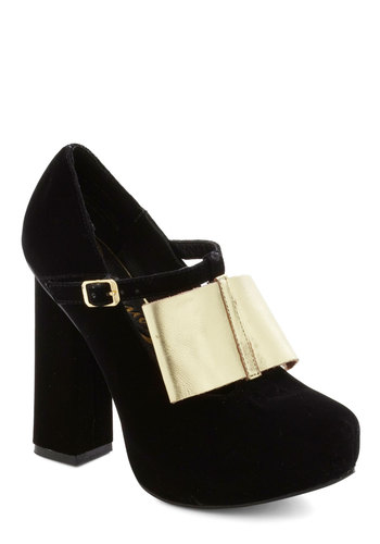 Enlighten the Mood Heel - High, Black, Gold, Bows, Mary Jane, Chunky heel, Party, Girls Night Out, Fall, Cocktail, Holiday Party, Platform